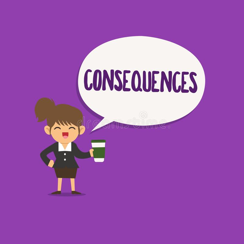 Conceptual hand writing showing Consequences. Business photo text Effect result or outcome of something occurring. Earlier stock illustration