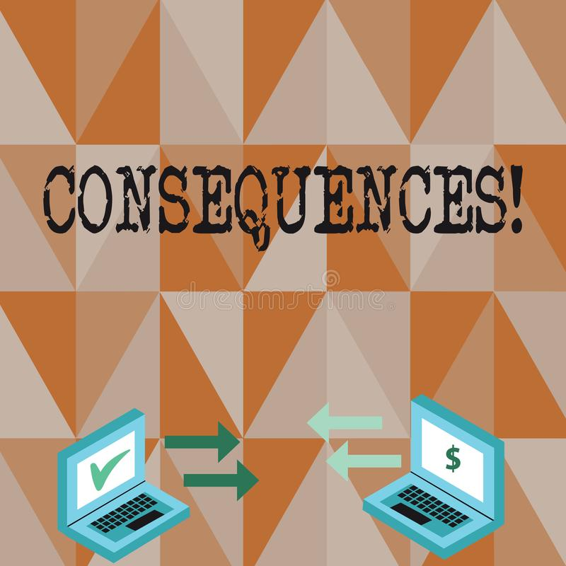 Conceptual hand writing showing Consequences. Business photo text Result Outcome Output Upshot Difficulty Ramification. Conceptual hand writing showing stock illustration