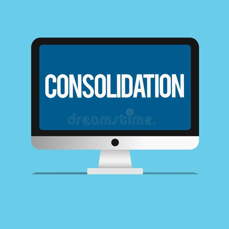 Free Conceptual Hand Writing Showing Consolidation. Business Photo Showcasing Action Or Process Of Making Something Stronger Or More So Royalty Free Stock Image - 131258446