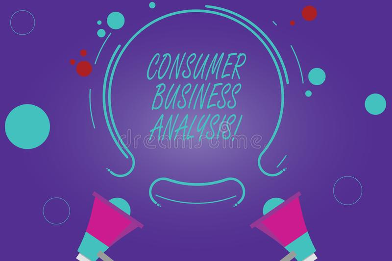 Conceptual hand writing showing Consumer Business Analysis. Business photo showcasing collect information on the target market s. Is needs Two Megaphone and royalty free stock photo