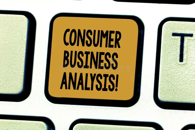 Conceptual hand writing showing Consumer Business Analysis. Business photo showcasing collect information on the target. Market s is needs Keyboard key royalty free stock images