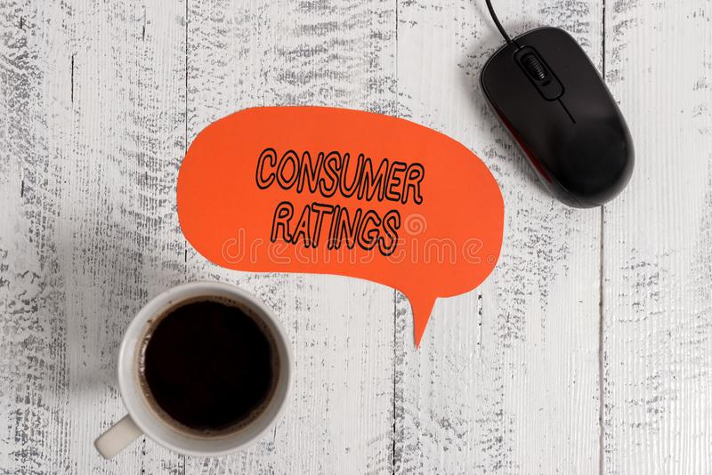Conceptual hand writing showing Consumer Ratings. Business photo showcasing feedback given by clients after buying. Conceptual hand writing showing Consumer royalty free stock images