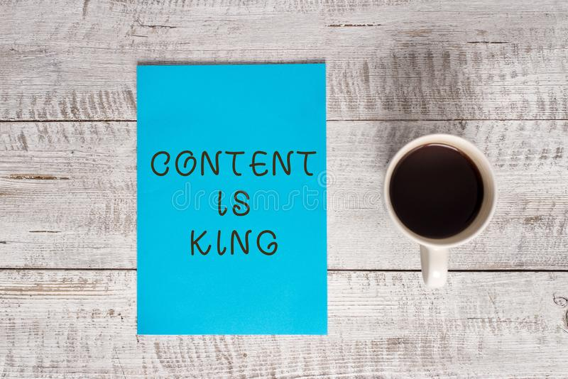 Conceptual hand writing showing Content Is King. Business photo text believe that content is central to the success of a. Conceptual hand writing showing Content royalty free stock photo