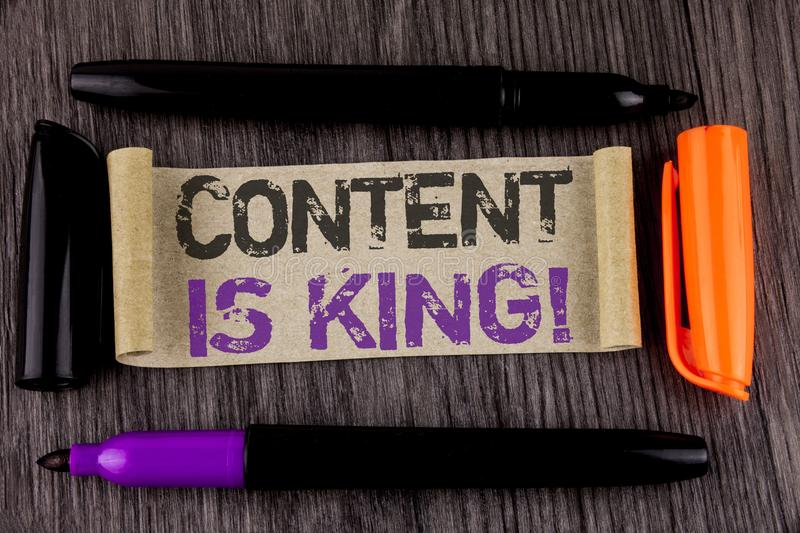 Conceptual hand writing showing Content Is King Motivational Call. Business photo text Strategy online internet digital seo writte. N Cardboard Paper the wooden stock images