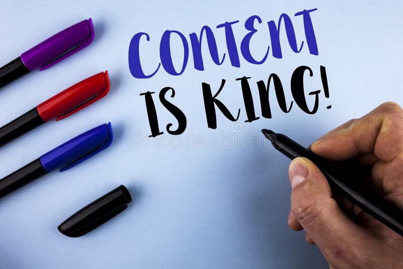 Conceptual hand writing showing Content Is King Motivational Call. Business photo text Strategy online internet digital seo writte. N by Man plain background royalty free stock photos