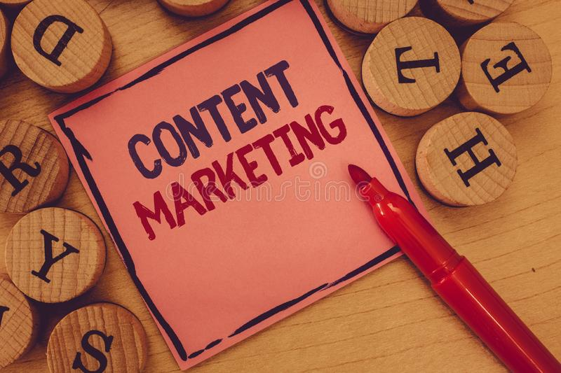 Conceptual hand writing showing Content Marketing. Business photo text Involves the creation and sharing of online material.  royalty free stock photos