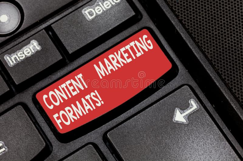 Conceptual hand writing showing Content Marketing Formats. Business photo showcasing the way in which brand is arranged royalty free stock photos