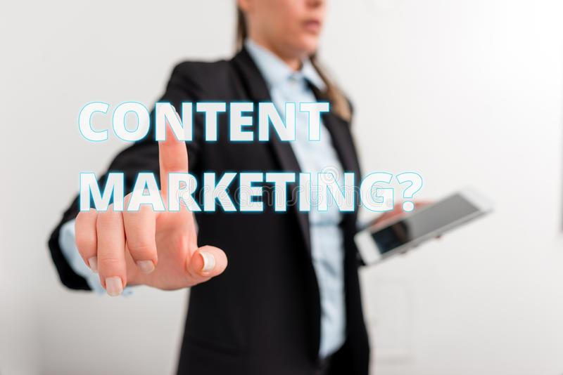 Conceptual hand writing showing Content Marketing question. Business photo text involves creation and sharing of online. Conceptual hand writing showing Content stock image