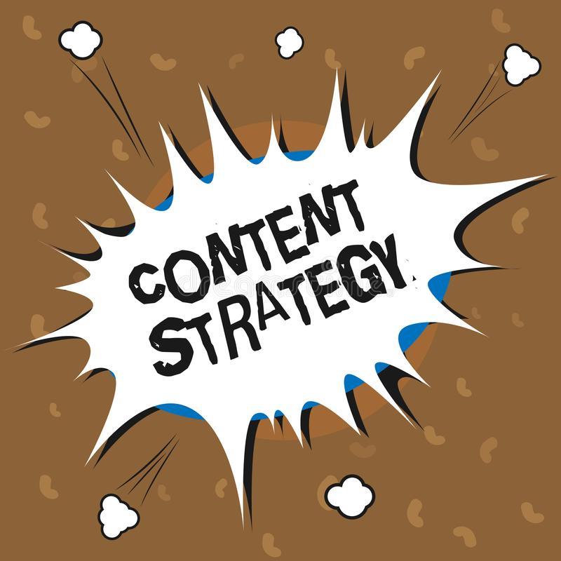 Conceptual hand writing showing Content Strategy. Business photo text create marketing plan using good photos and words.  stock illustration