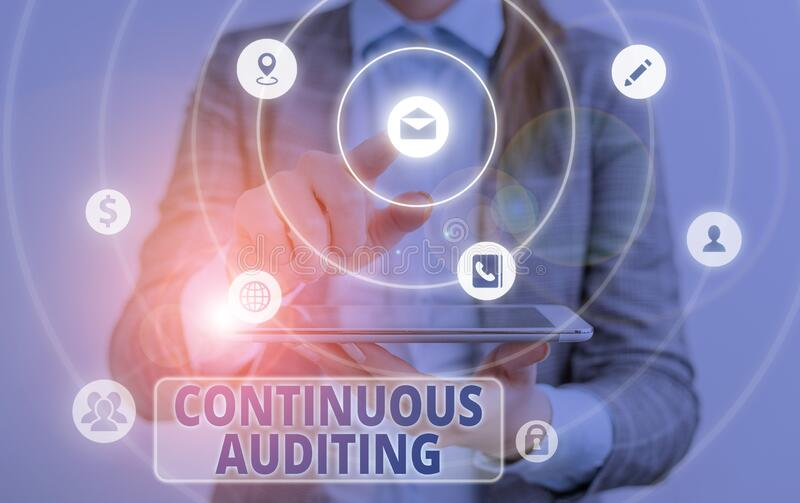 Conceptual hand writing showing Continuous Auditing. Business photo text Internal process that examines accounting. Conceptual hand writing showing Continuous stock images