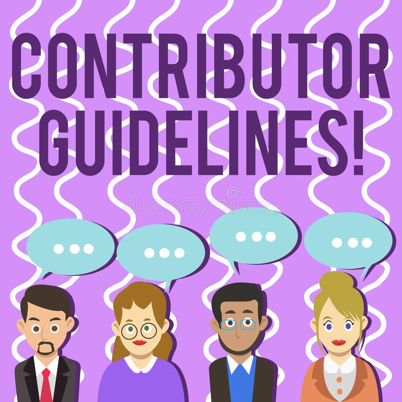 Conceptual hand writing showing Contributor Guidelines. Business photo text demonstrating who writes articles for. Conceptual hand writing showing Contributor stock illustration