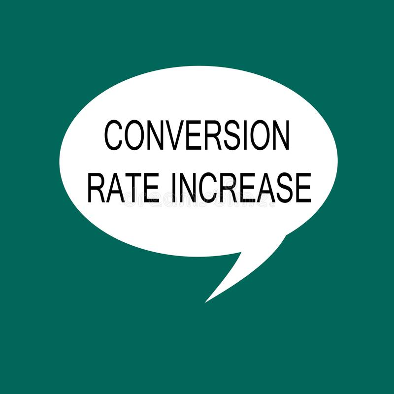 Conceptual hand writing showing Conversion Rate Increase. Business photo showcasing Ratio of Total Visitors who perform. Desired actions vector illustration