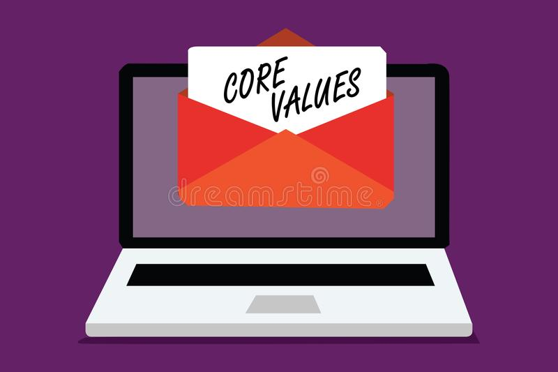 Conceptual hand writing showing Core Values. Business photo text belief person or organization views as being importance Computer. Receiving email important stock illustration