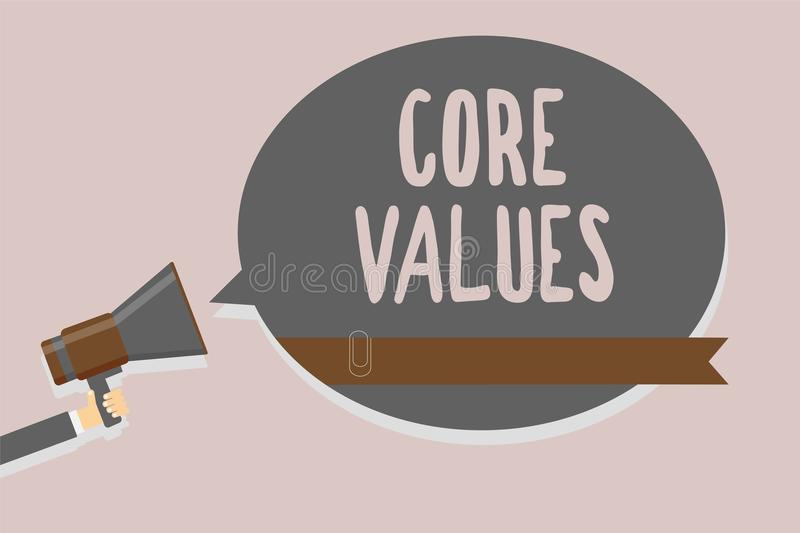 Conceptual hand writing showing Core Values. Business photo text belief person or organization views as being importance Man holdi. Ng megaphone loudspeaker vector illustration