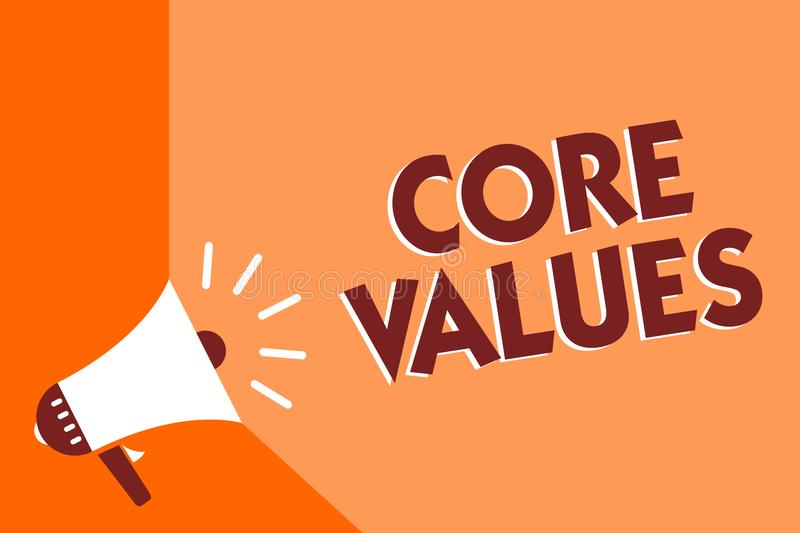 Conceptual hand writing showing Core Values. Business photo text belief person or organization views as being importance Megaphone. Loudspeaker orange stock illustration