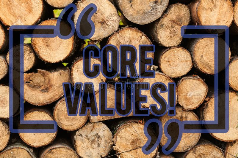 Conceptual hand writing showing Core Values. Business photo text principle that demonstrating views as being central royalty free stock images