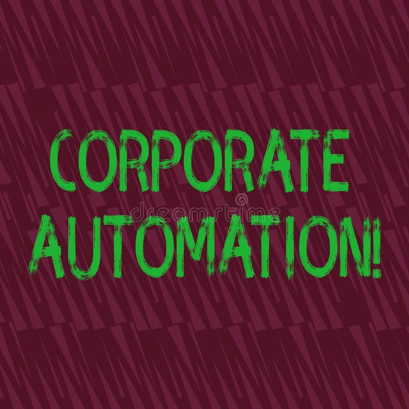 Conceptual hand writing showing Corporate Automation. Business photo showcasing automating key processes through. Conceptual hand writing showing Corporate vector illustration