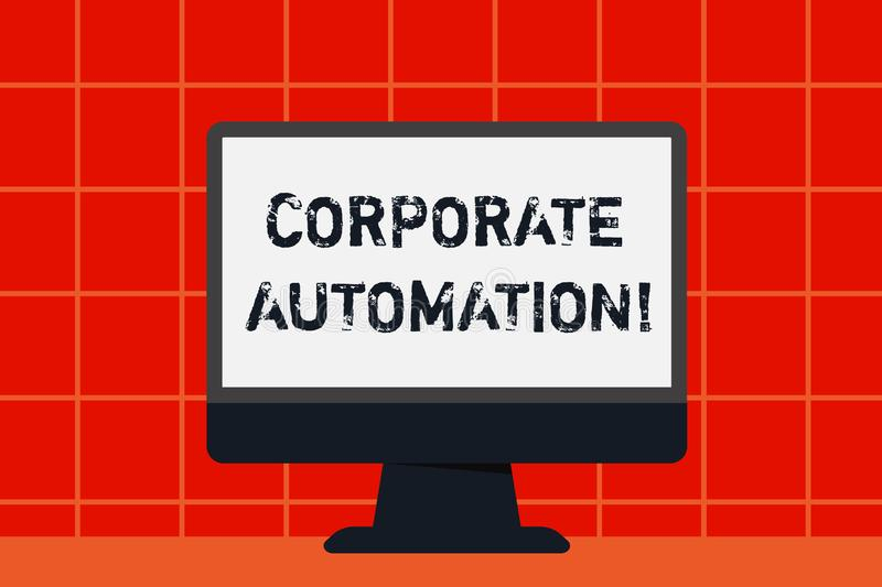 Conceptual hand writing showing Corporate Automation. Business photo text automating key processes through computing. Conceptual hand writing showing Corporate royalty free illustration