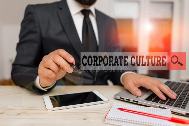 Conceptual hand writing showing Corporate Culture. Business photo text pervasive values and attitudes that characterize. Conceptual hand writing showing stock images