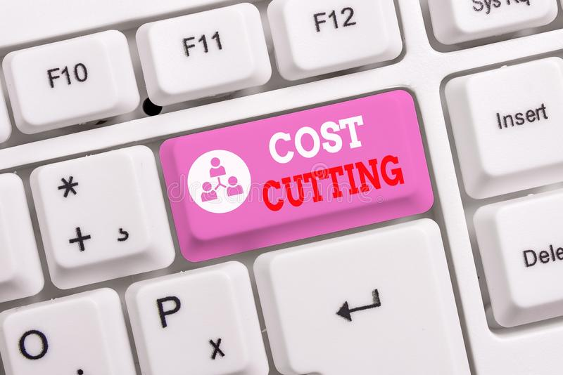 Conceptual hand writing showing Cost Cutting. Business photo text actions taken to reduce the amount that is spent on a. Conceptual hand writing showing Cost royalty free stock image