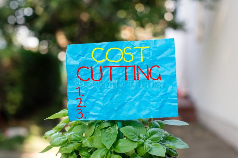 Conceptual hand writing showing Cost Cutting. Business photo text actions taken to reduce the amount that is spent on a. Conceptual hand writing showing Cost stock photos