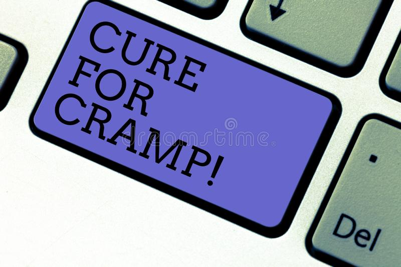 Conceptual hand writing showing Cure For Cramp. Business photo showcasing Medical treatment good care against some type. Of pains Keyboard key Intention to royalty free stock image