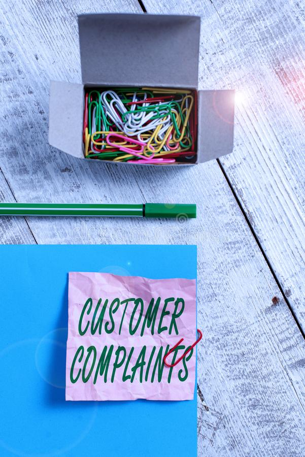 Conceptual hand writing showing Customer Complaints. Business photo text expression of dissatisfaction on a consumer s. Conceptual hand writing showing Customer royalty free stock photography