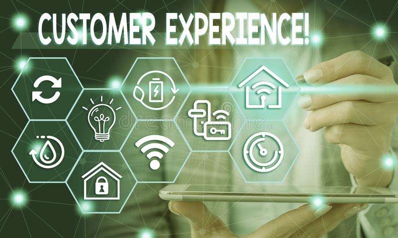 Conceptual hand writing showing Customer Experience. Business photo showcasing product of interaction between. Conceptual hand writing showing Customer stock photography