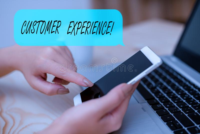 Conceptual hand writing showing Customer Experience. Business photo text product of interaction between organization and. Conceptual hand writing showing stock images