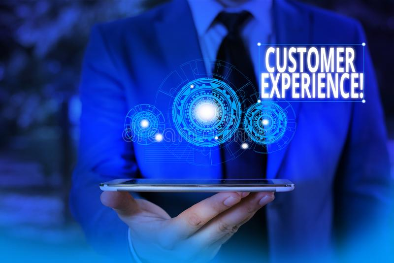 Conceptual hand writing showing Customer Experience. Business photo showcasing product of interaction between. Conceptual hand writing showing Customer stock image