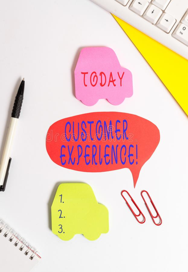 Conceptual hand writing showing Customer Experience. Business photo showcasing product of interaction between. Conceptual hand writing showing Customer royalty free stock photos