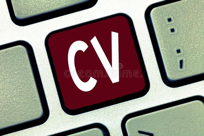 Conceptual hand writing showing Cv. Business photo showcasing Job seeker life experiences Education attainment skills. And expertise royalty free stock photo