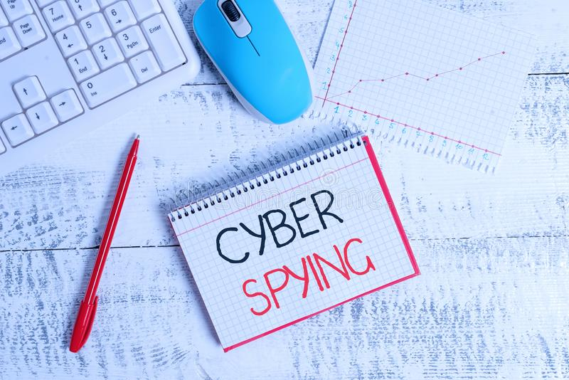Conceptual hand writing showing Cyber Spying. Business photo text form of cyber attack that steals classified or stock image
