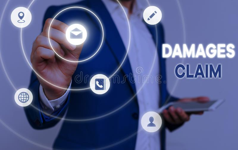Conceptual hand writing showing Damages Claim. Business photo text Deanalysisd Compensation Litigate Insurance File Suit. Conceptual hand writing showing Damages royalty free stock images