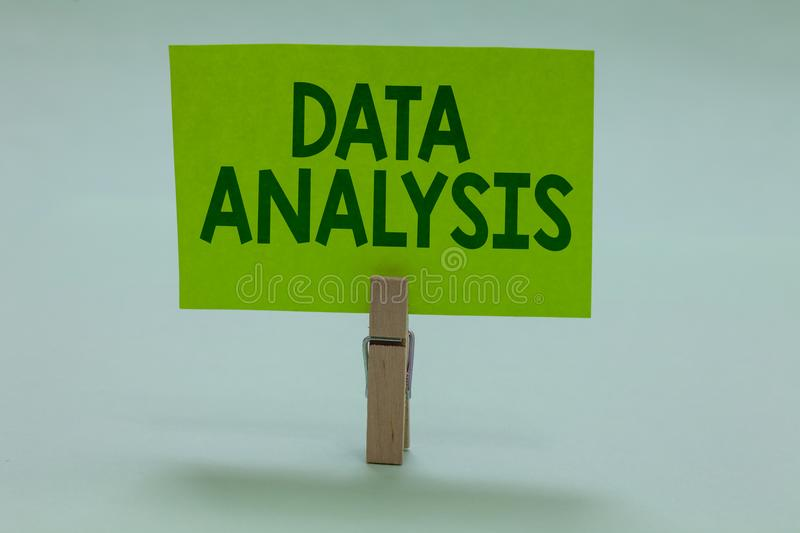 Conceptual hand writing showing Data Analysis. Business photo showcasing Translate numbers to Analytical Conclusion Forecasting Cl royalty free stock images