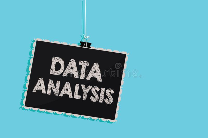 Conceptual hand writing showing Data Analysis. Business photo showcasing Translate numbers to Analytical Conclusion Forecasting Ha. Nging blackboard message stock photo