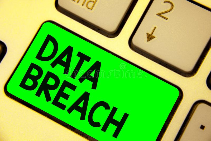 Conceptual hand writing showing Data Breach. Business photo showcasing security incident where sensitive protected information cop. Ied Keyboard green key royalty free stock photos