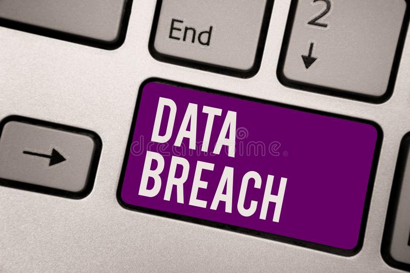 Conceptual hand writing showing Data Breach. Business photo showcasing security incident where sensitive protected information cop. Ied Keyboard purple key royalty free stock photos