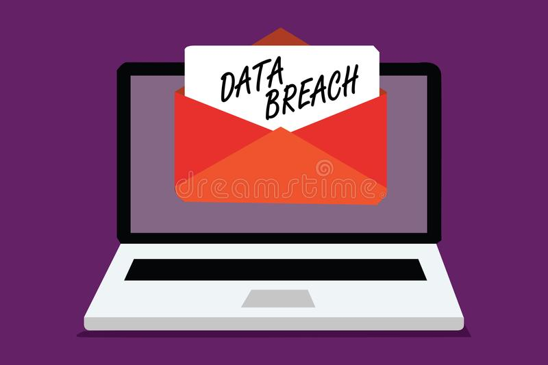 Conceptual hand writing showing Data Breach. Business photo text security incident where sensitive protected information copied Co. Mputer receiving email royalty free stock photography