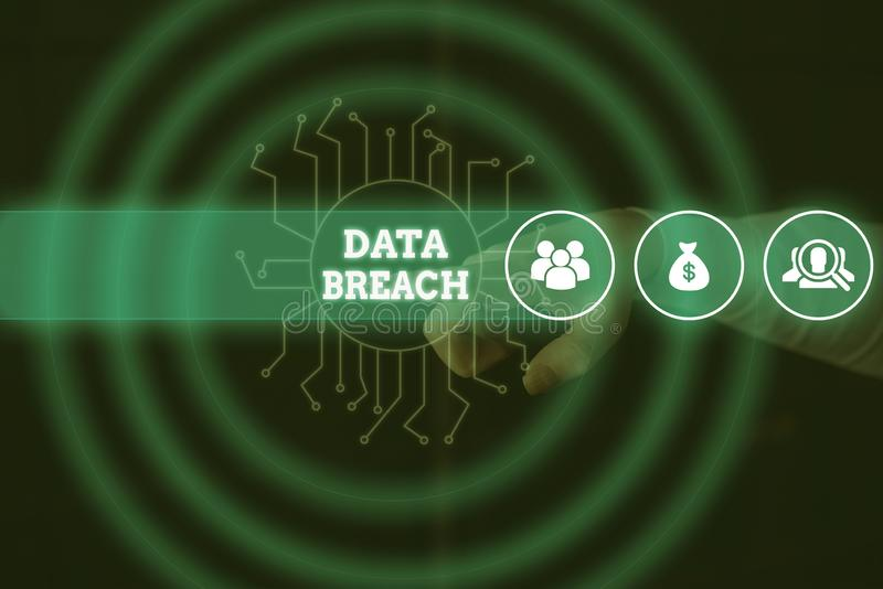 Conceptual hand writing showing Data Breach. Business photo showcasing security incident where sensitive protected. Conceptual hand writing showing Data Breach stock image