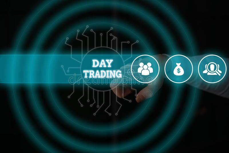 Conceptual hand writing showing Day Trading. Business photo showcasing securities specifically buying and selling. Conceptual hand writing showing Day Trading royalty free stock photos