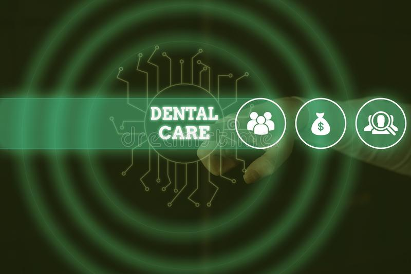 Conceptual hand writing showing Dental Care. Business photo showcasing maintenance of healthy teeth or to keep it clean. Conceptual hand writing showing Dental stock photos