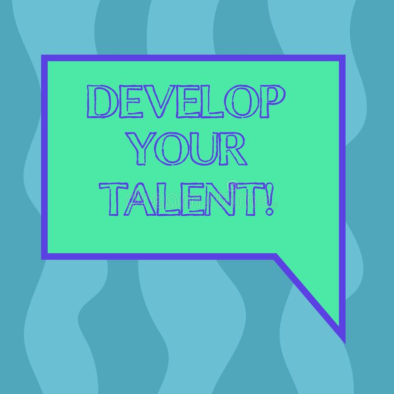 Conceptual hand writing showing Develop Your Talent. Business photo showcasing improve natural aptitude or skill with. Effort and time Blank Deformed Color stock illustration