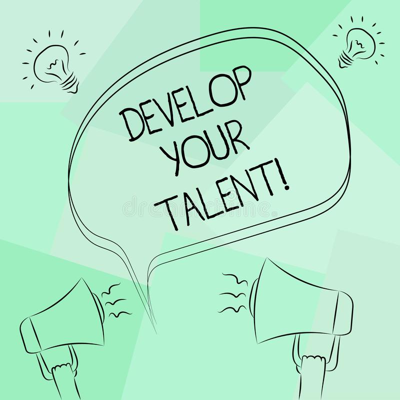 Conceptual hand writing showing Develop Your Talent. Business photo text improve natural aptitude or skill with effort. And time Freehand Outline Sketch of stock illustration