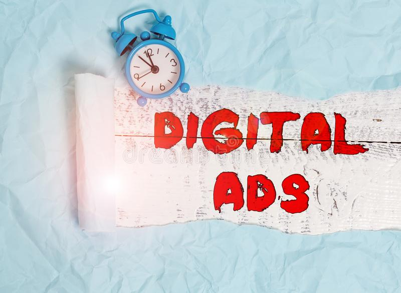 Conceptual hand writing showing Digital Ads. Business photo text uses the Internet to deliver promotional marketing. Conceptual hand writing showing Digital Ads stock image