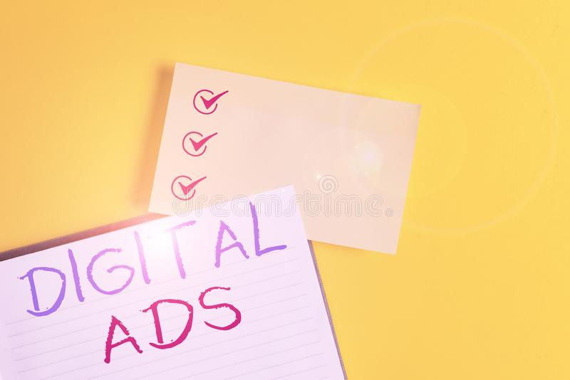 Conceptual hand writing showing Digital Ads. Business photo text uses the Internet to deliver promotional marketing. Conceptual hand writing showing Digital Ads royalty free stock photography