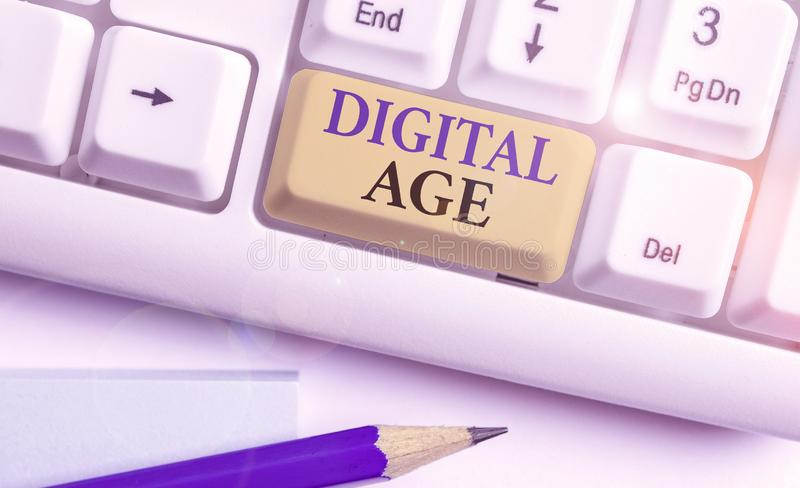 Conceptual hand writing showing Digital Age. Business photo showcasing introduction of the demonstratingal computer with. Conceptual hand writing showing Digital royalty free stock images