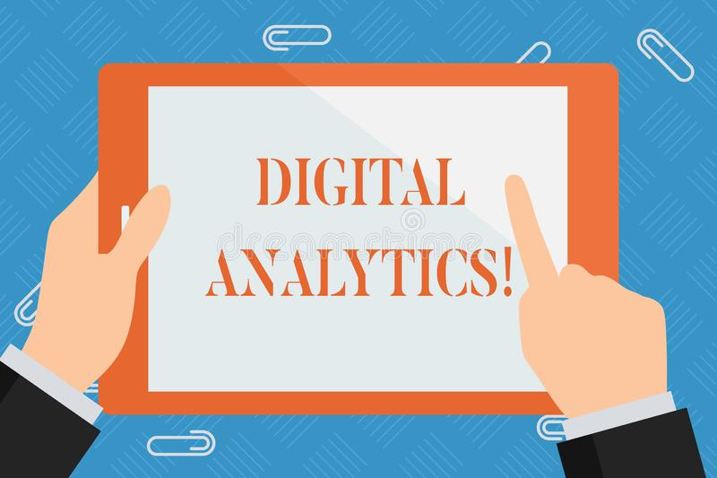 Conceptual hand writing showing Digital Analytics. Business photo showcasing the analysis of qualitative and. Conceptual hand writing showing Digital Analytics vector illustration