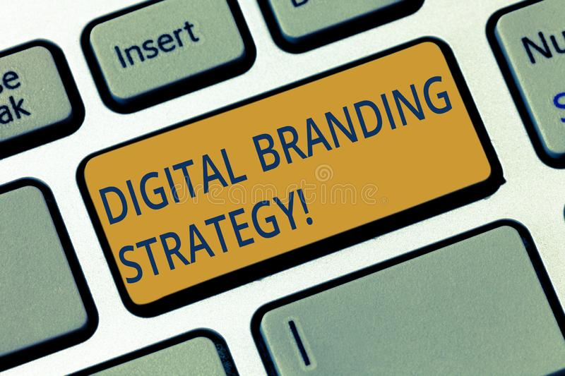 Conceptual hand writing showing Digital Branding Strategy. Business photo showcasing develop a brand over a range of. Digital venues Keyboard key Intention to royalty free stock photo
