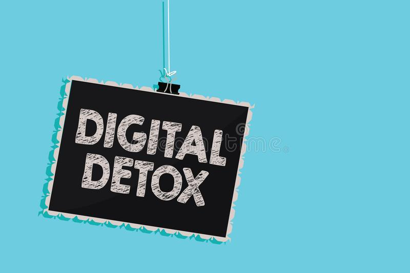 Conceptual hand writing showing Digital Detox. Business photo showcasing Free of Electronic Devices Disconnect to Reconnect Unplug. Ged Hanging blackboard vector illustration